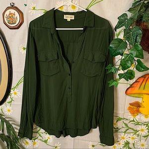 Anthro Cloth & Stone olive green boyfriend shirt